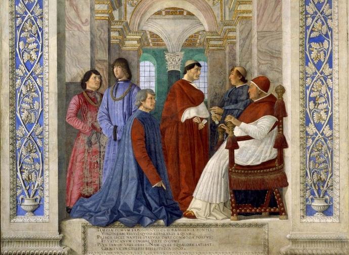 Sixtus IV and Platina, Melozzo da Forlì