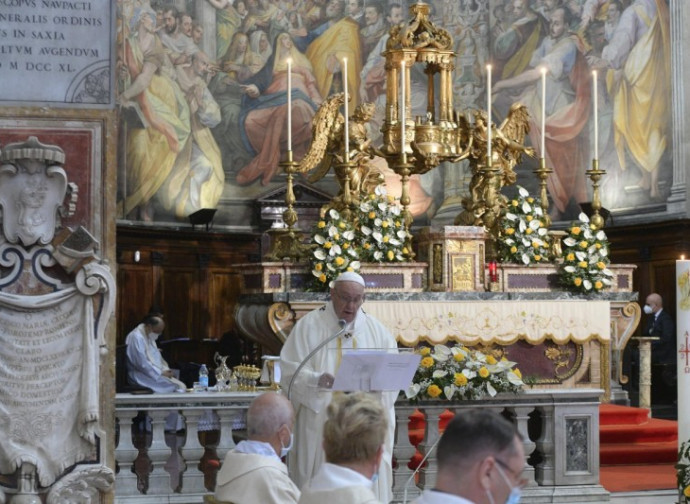 Pope Francis celebrating the Mass