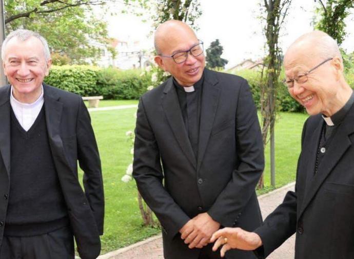 Cardinal Parolin with Peter Choy and Cardinal Tong