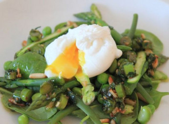Easter salad with poached egg and balsamic vinegar