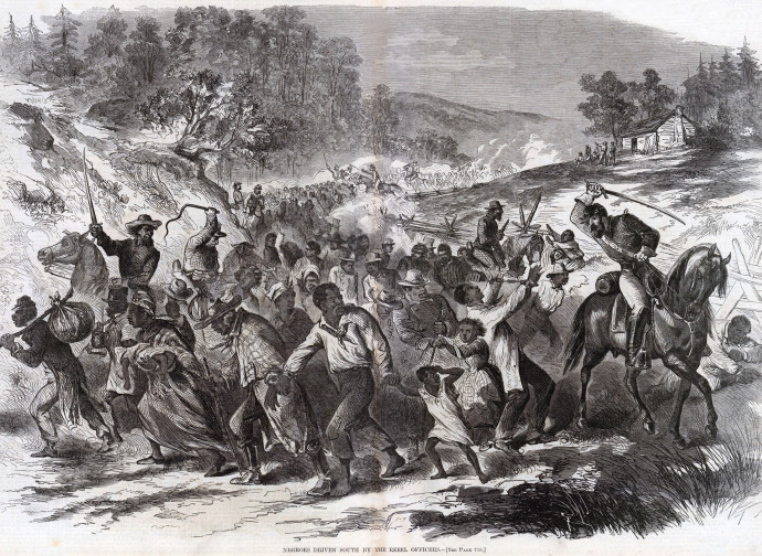 Fugitive slaves escorted back in the Confederate South